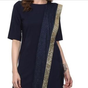3 piece Indo western  navy blue  dress